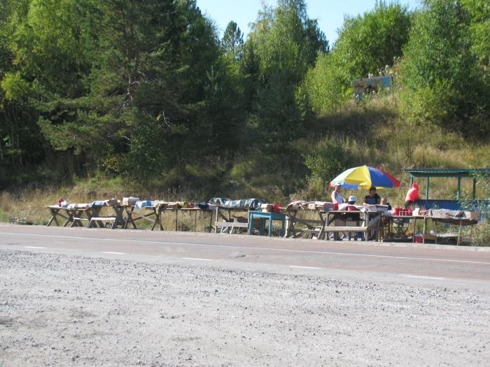 Yol üstündeki satıcılar. Genel olarak meyve çekirdek ve kozalak satıyorlar
