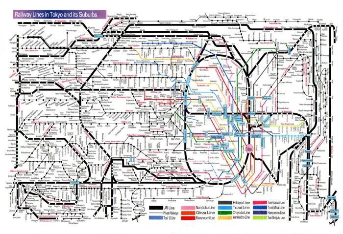 Tokyo çevresi tren haritası