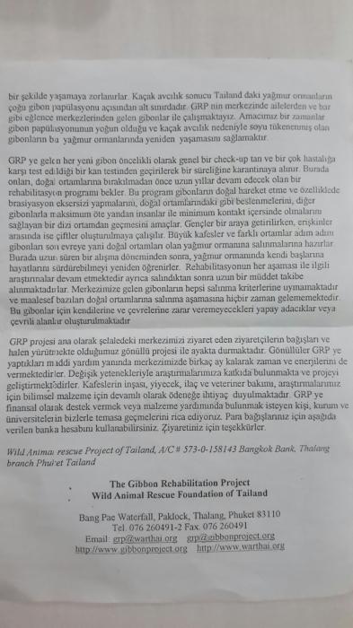 Gibon rehabilite merkezinin broşürü 2