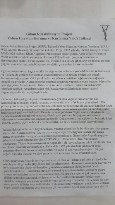 Gibon rehabilite merkezinin brosşürü 1