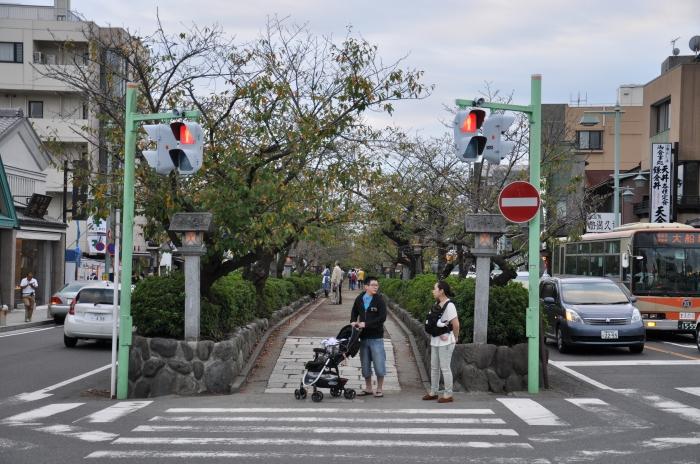 Japonya Kamakura'daki iki araç yolu arasındaki yaya yolu