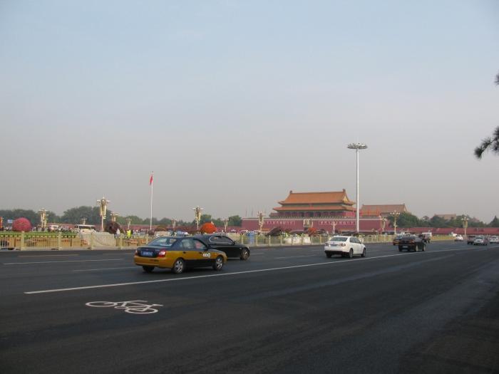 Çin Pekin'de Tia an men meydanını çevreleyen yol