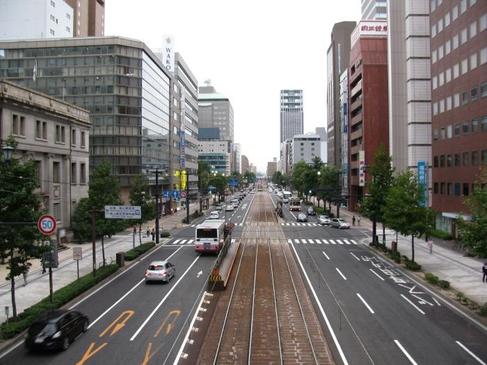 Japonya Hiroşima'da tramvay yolu